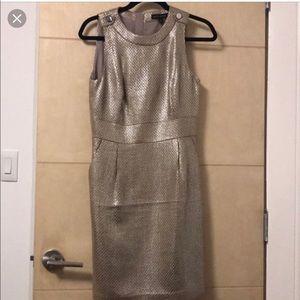 NWT Banana Republic Tall Gold Foil Sheath Dress 2T